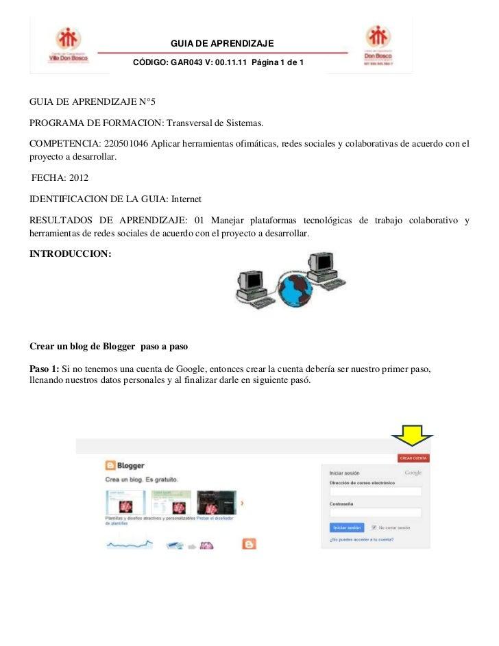 GUIA DE APRENDIZAJE                          CÓDIGO: GAR043 V: 00.11.11 Página 1 de 1GUIA DE APRENDIZAJE N°5PROGRAMA DE FO...