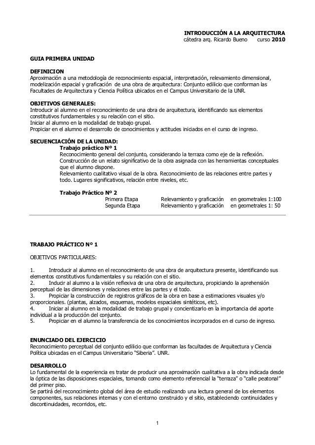 1 INTRODUCCIÓN A LA ARQUITECTURA cátedra arq. Ricardo Bueno curso 2010 GUIA PRIMERA UNIDAD DEFINICION Aproximación a una m...