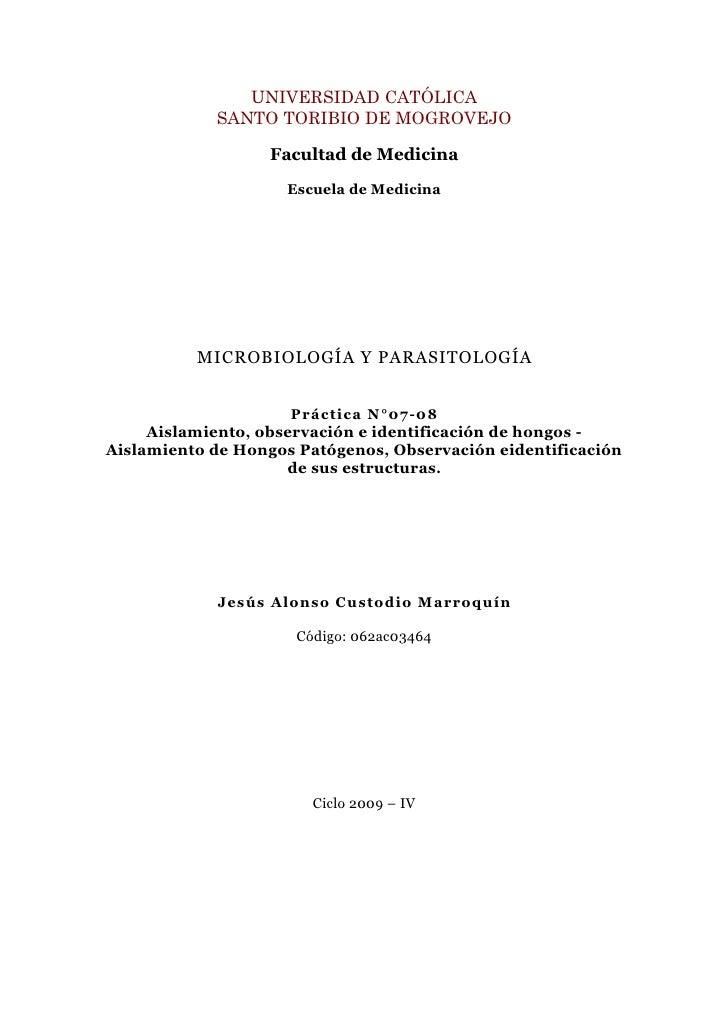 Guia VII-VIII: Aislamiento, observación e identificación de hongos