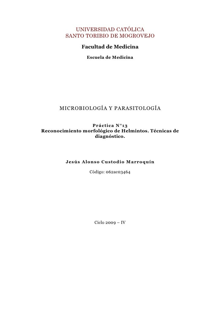 Guia XIII: Reconocimiento morfológico de Helmintos. Técnicas de diagnóstico.