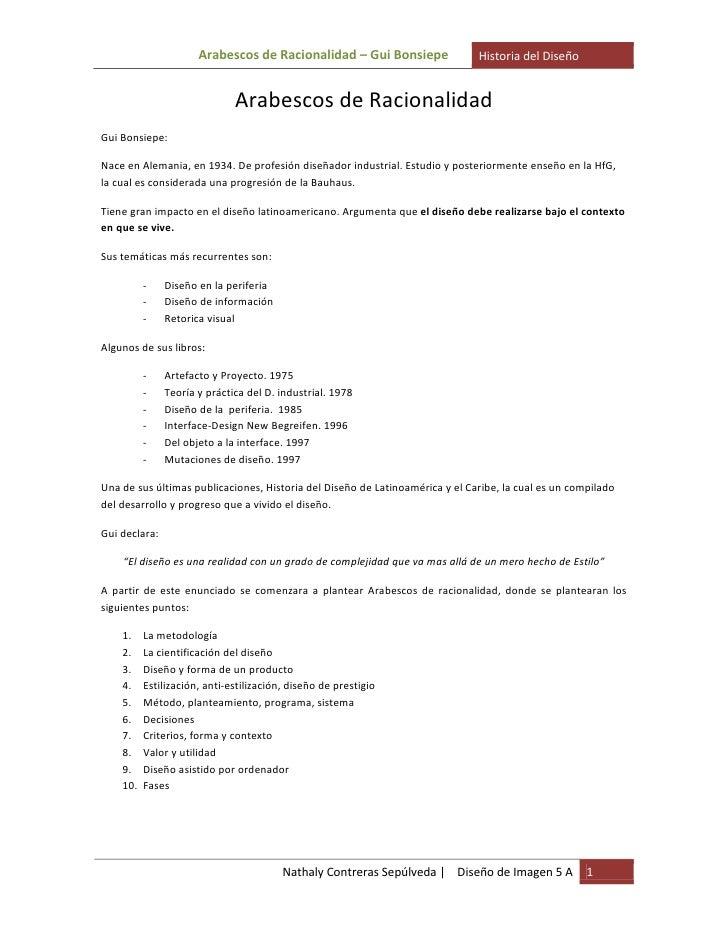Arabescos de Racionalidad – Gui Bonsiepe                Historia del Diseño                                 Arabescos de R...