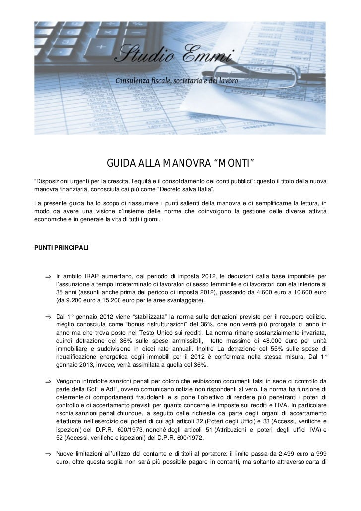 """GUIDA ALLA MANOVRA """"MONTI""""""""Disposizioni urgenti per la crescita, l'equità e il consolidamento dei conti pubblici"""": questo ..."""