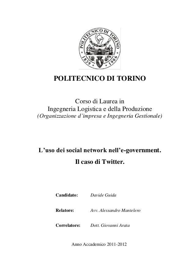 L'uso dei social network nell'e-government. Il caso di Twitter.