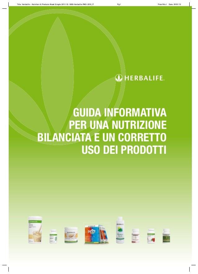 GUIDA INFORMATIVA PER UNA NUTRIZIONE BILANCIATA E UN CORRETTO USO DEI PRODOTTI Title: Herbalife – Nutrition & Products Mad...