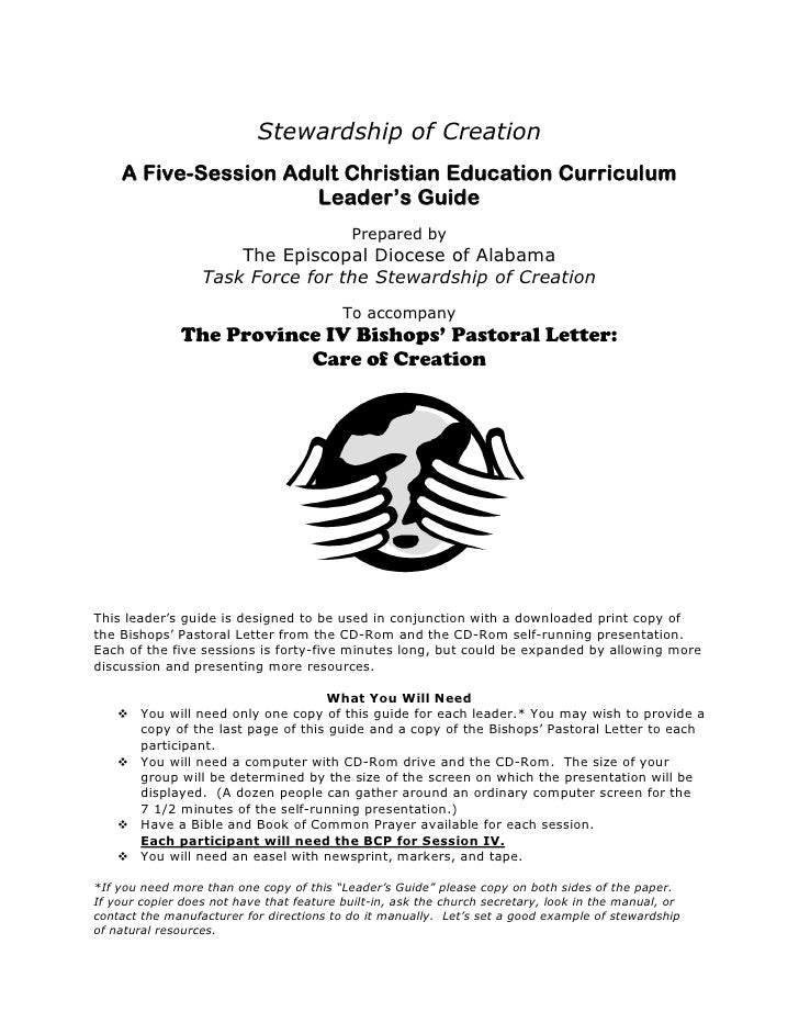 Stewardship of Creation    A Five-Session Adult Christian Education Curriculum                      Leader's Guide        ...