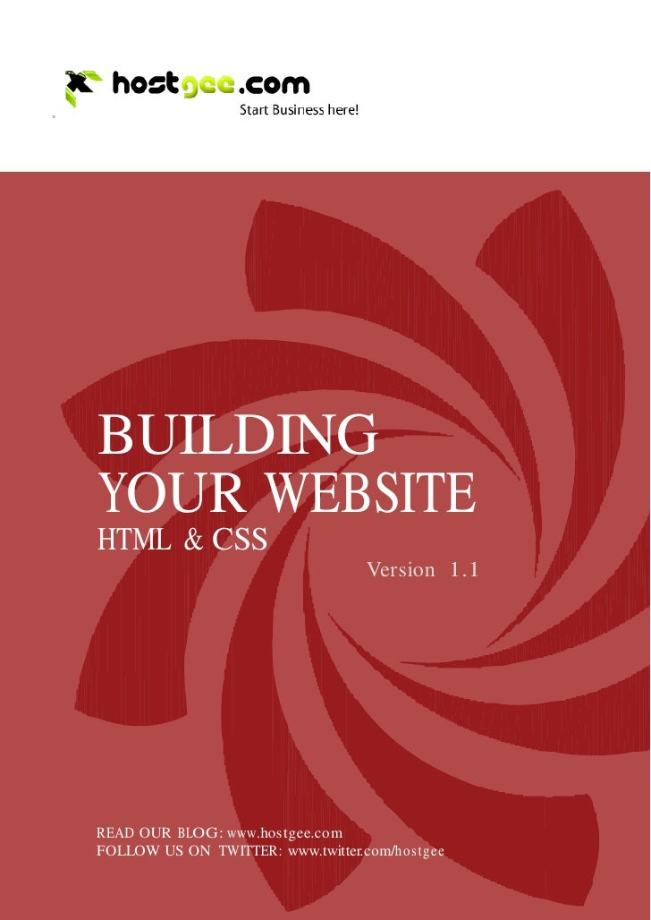 =             BUILDING         YOUR WEBSITE         HTML & CSS                                           Version 1.1      ...