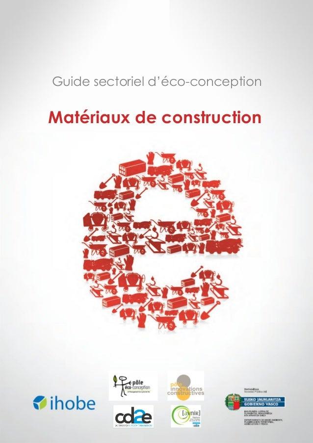 Guide sectoriel d'éco-conception  Matériaux de construction