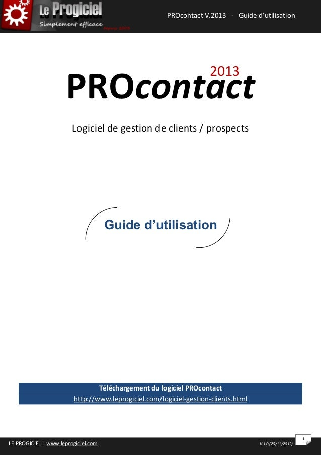 PROcontact V.2013 - Guide d'utilisation                                                              PROcontact 2013 : Gui...
