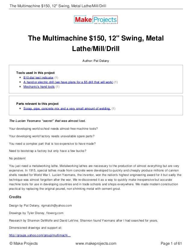 Building the Concrete Lathe (Open Source Machine Tools)