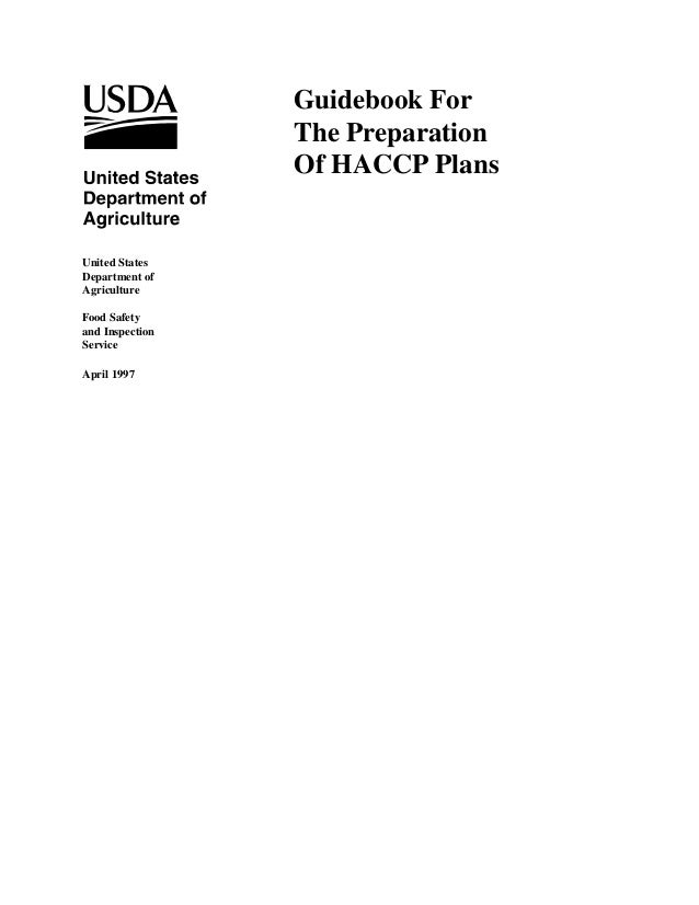 Guidebook For The Preparation Of HACCP Plans  United States Department of Agriculture Food Safety and Inspection Service A...