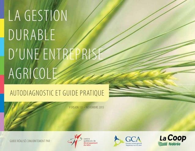LA GESTION DURABLE D'UNE ENTREPRISE AGRICOLE Autodiagnostic et guide pratique version 1.0 – novembre 2013  Guide réalisé c...