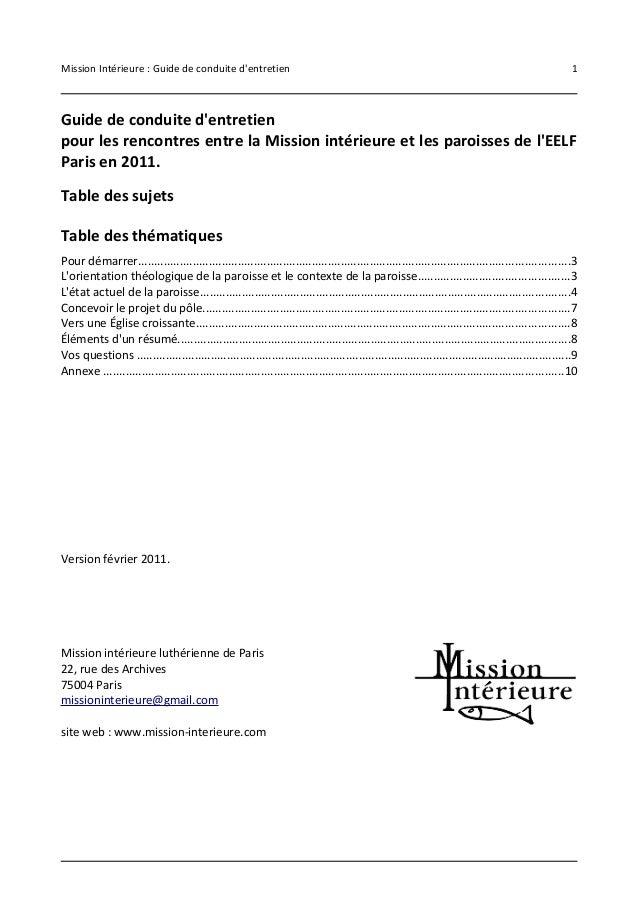 Mission Intérieure : Guide de conduite d'entretien 1  Guide de conduite d'entretien  pour les rencontres entre la Mission ...