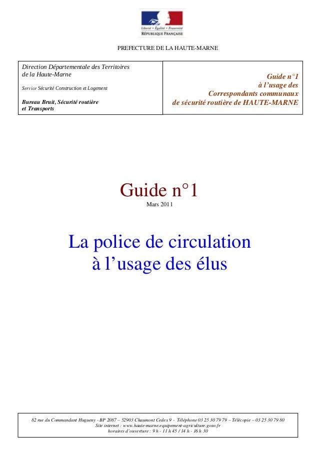 PREFECTURE DE LA HAUTE-MARNE  DirectionDépartementaledesTerritoires delaHauteMarne ServiceSécuritéConstructione...