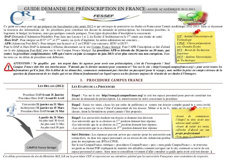 Guide demande de préinscription en france