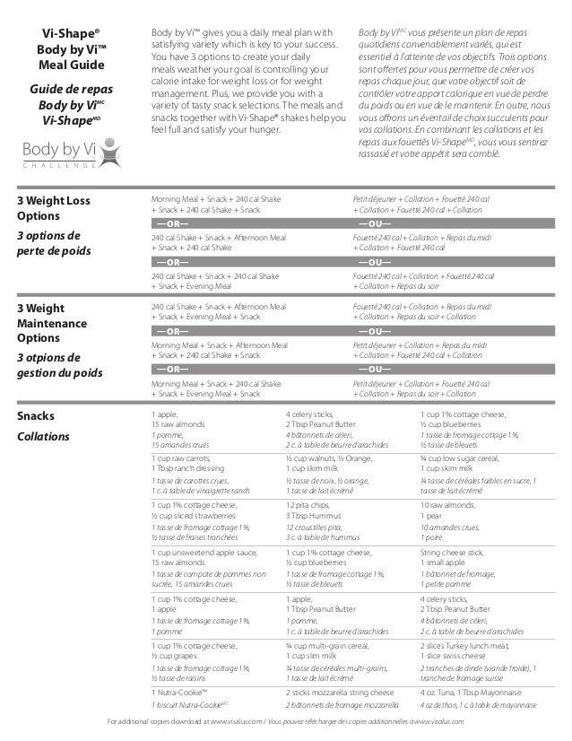 Guide de repas bilingue