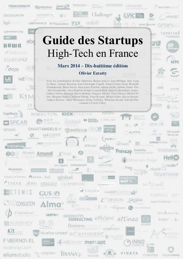 Guide des startups hightech en france olivier ezratty mars 2014