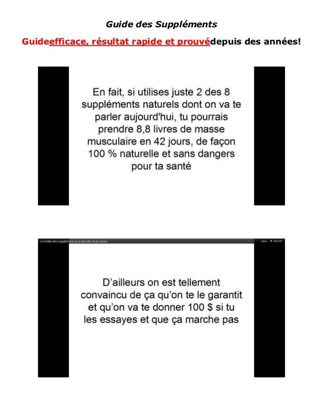 Guide des SupplémentsGuideefficace, résultat rapide et prouvédepuis des années!