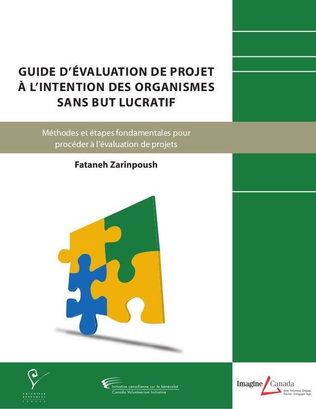 GUIDE D'ÉVALUATION DE PROJET À L'INTENTION DES ORGANISMES SANS BUT LUCRATIF