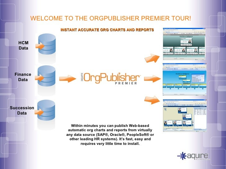 INSTANT ACCURATE ORG CHARTS AND REPORTS Within minutes you can publish Web-based automatic org charts and reports from vir...