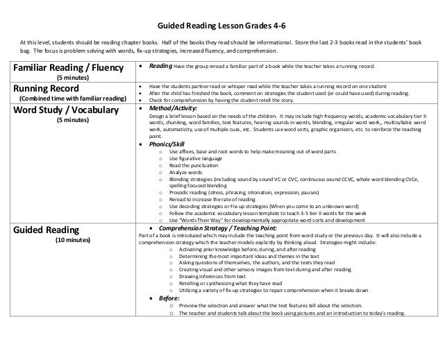 Guided Reading Lesson Grades 4-6 At this level, students should be reading chapter books. Half of the books they read shou...