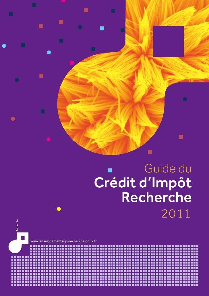 Guide du                                   Crédit d'Impôt                                      Recherche                  ...