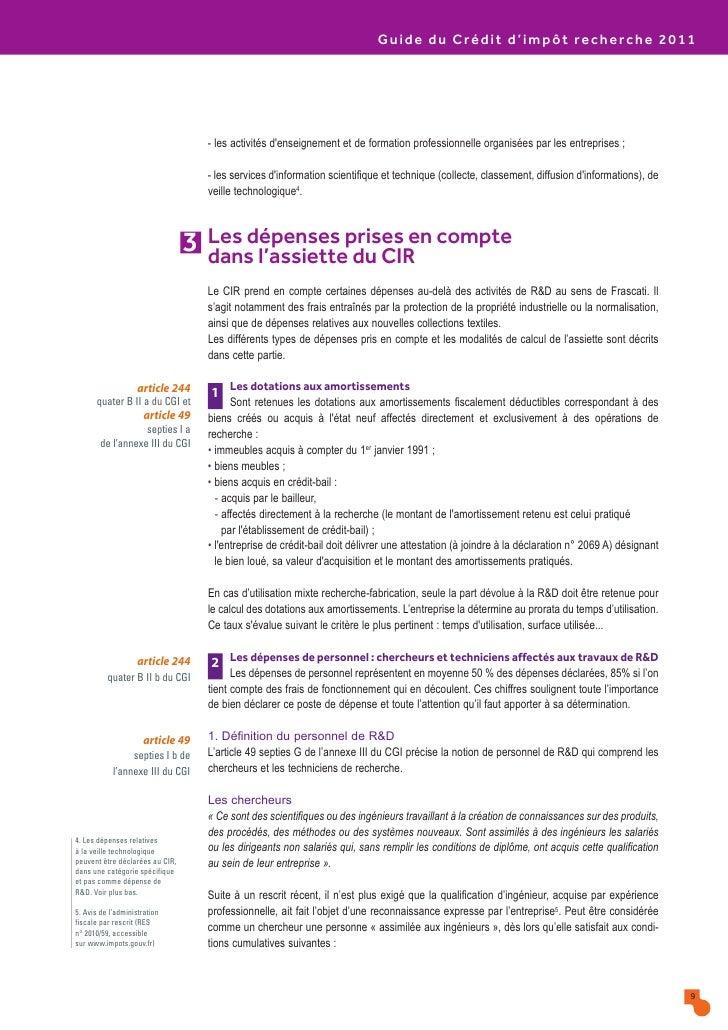 Guide du credit impot recherche 2011 04 10 147387 - Credit d impot ...
