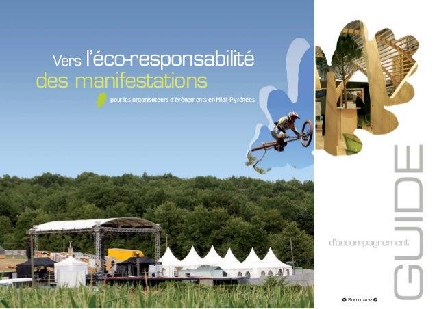 Vers l'éco-responsabilitédes manifestations        pour les organisateurs d'évènements en Midi-Pyrénées                   ...