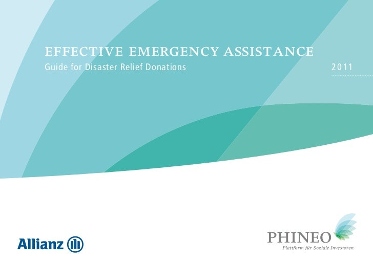 effective emergency assistanceGuide for Disaster Relief Donations   2 0 11