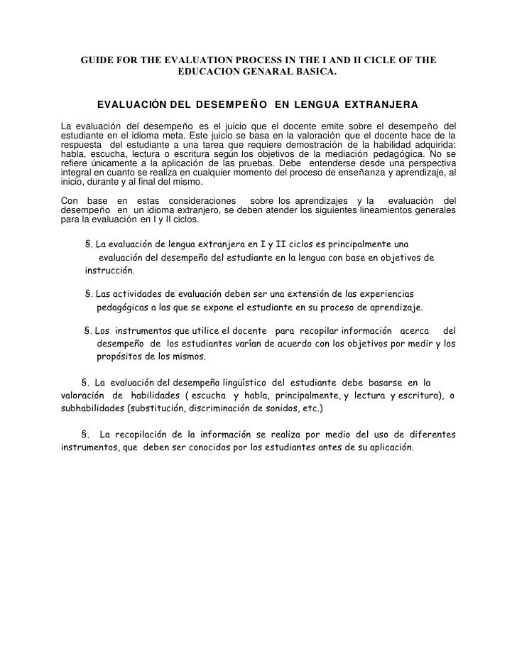 GUIDE FOR THE EVALUATION PROCESS IN THE I AND II CICLE OF THE                     EDUCACION GENARAL BASICA.           EVAL...