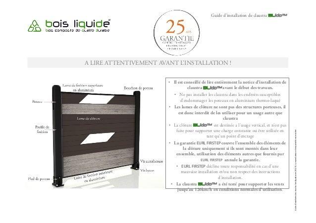 Guide d'installation de claustra BLklo™ A LIRE ATTENTIVEMENT AVANT L'INSTALLATION ! • Il est conseillé de lire entièremen...