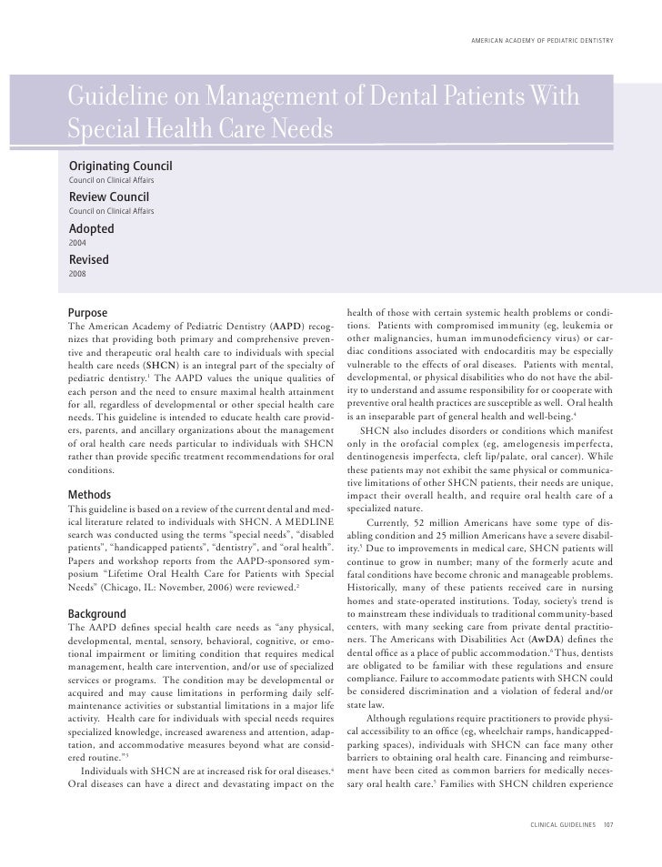 AMERICAN ACADEMY OF PEDIATRIC DENTISTRYGuideline on Management of Dental Patients WithSpecial Health Care NeedsOriginating...