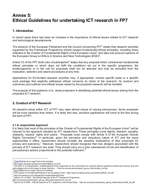 Annex 5:Ethical Guidelines for undertaking ICT research in FP71. IntroductionIn recent years there has been an increase in...