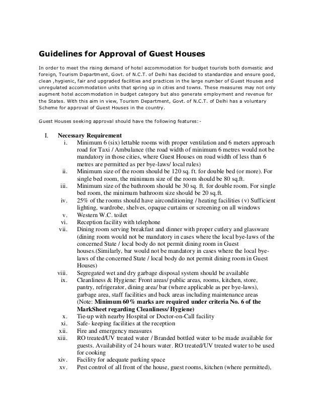 Guidelines for Approval of Guest HousesGuidelines for Approval of Guest HousesIn order to meet the rising demand of hotel ...