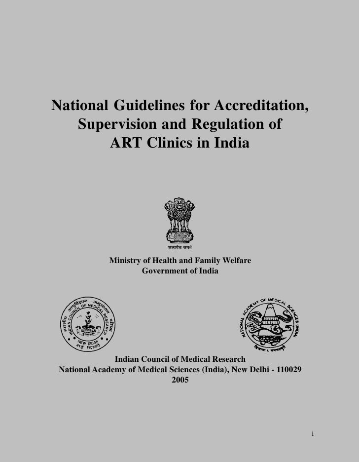 National Guidelines for Accreditation,     Supervision and Regulation of         ART Clinics in India                   Mi...