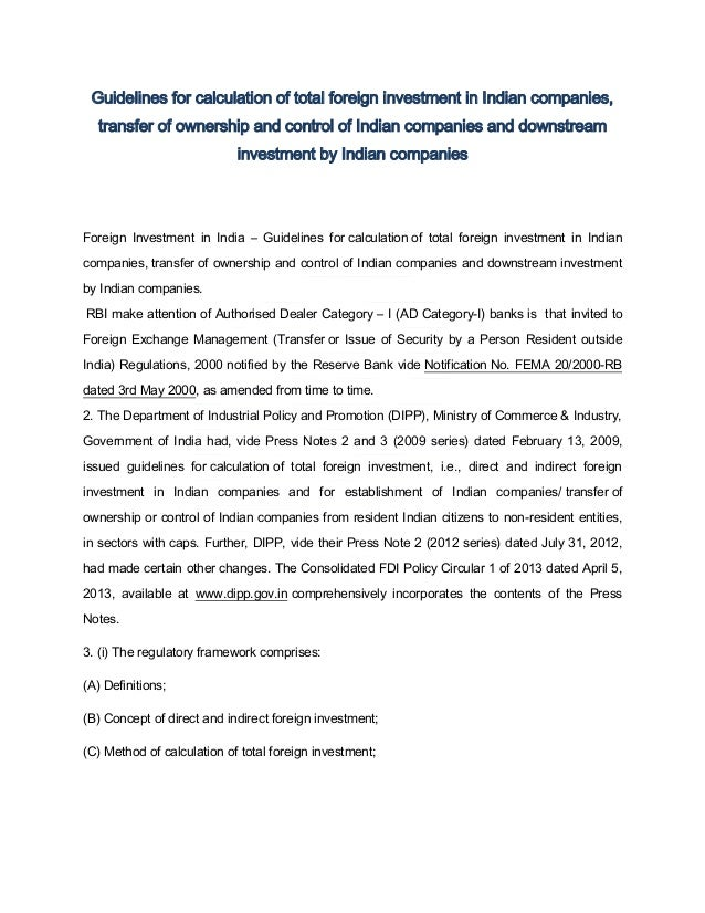 Guidelines for calculation of total foreign investment in Indian companies, transfer of ownership and control of Indian co...