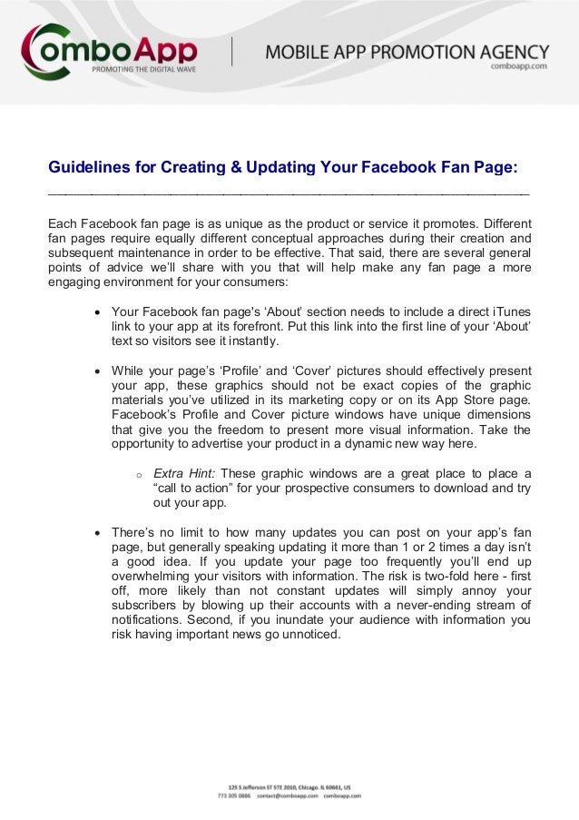 Guidelines for Creating & Updating your Facebook Fan Page