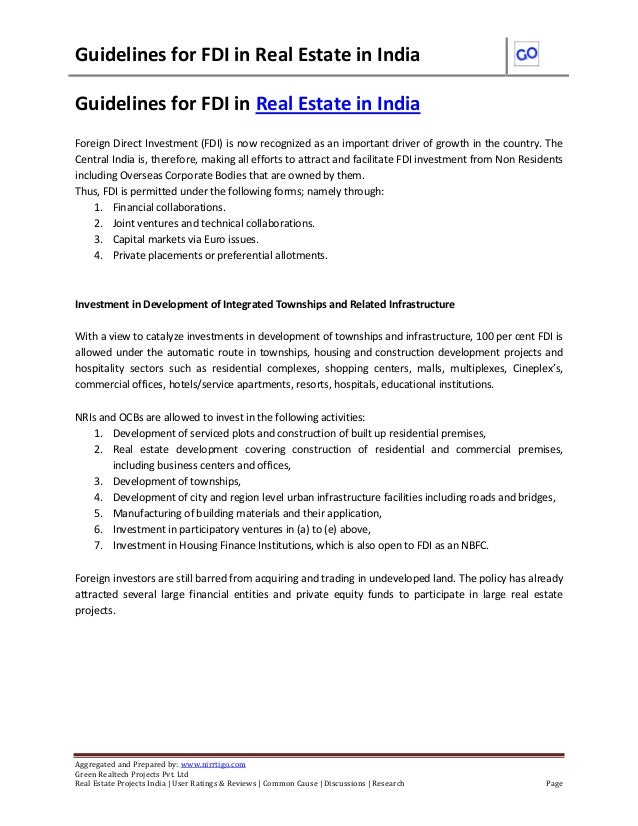 Guidelines for FDI in Real Estate in India Aggregated and Prepared by: www.nirrtigo.com Green Realtech Projects Pvt. Ltd R...