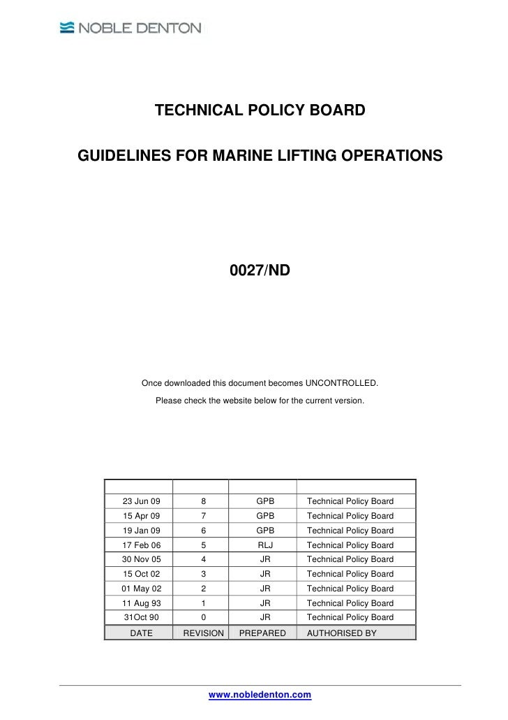TECHNICAL POLICY BOARDGUIDELINES FOR MARINE LIFTING OPERATIONS                                0027/ND         Once downloa...