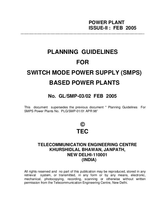 POWER PLANTISSUE-II : FEB 2005___________________________________________________________________________PLANNING GUIDELIN...