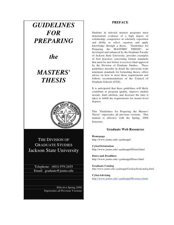 Guidelines for preparing the master´s thesis