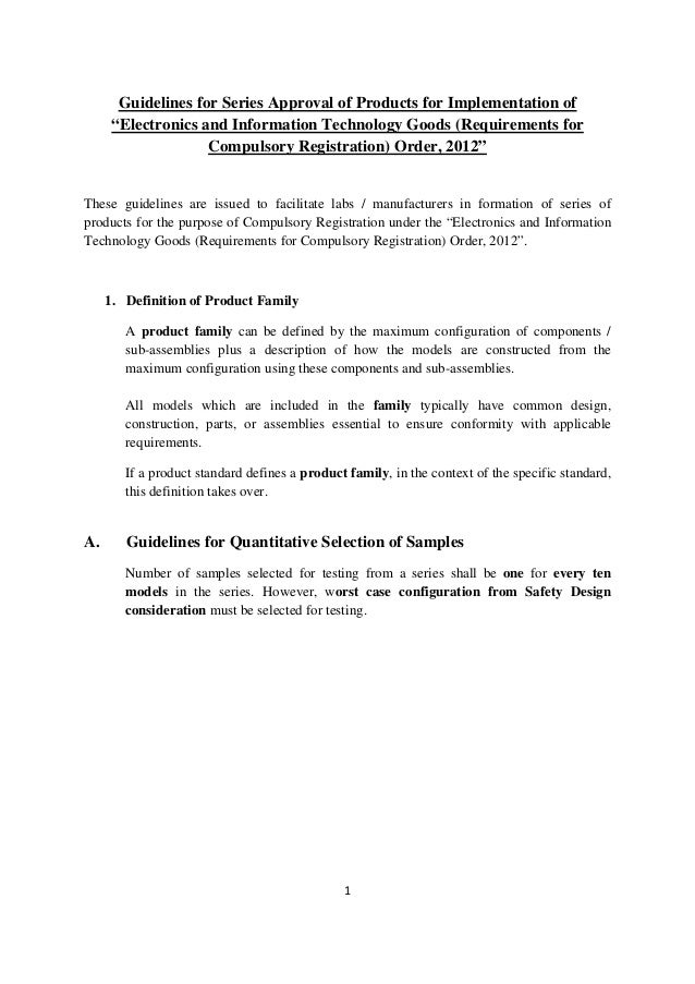 Guidelines for series approval of 15 electronics products for implementation of electronics and information technology goods