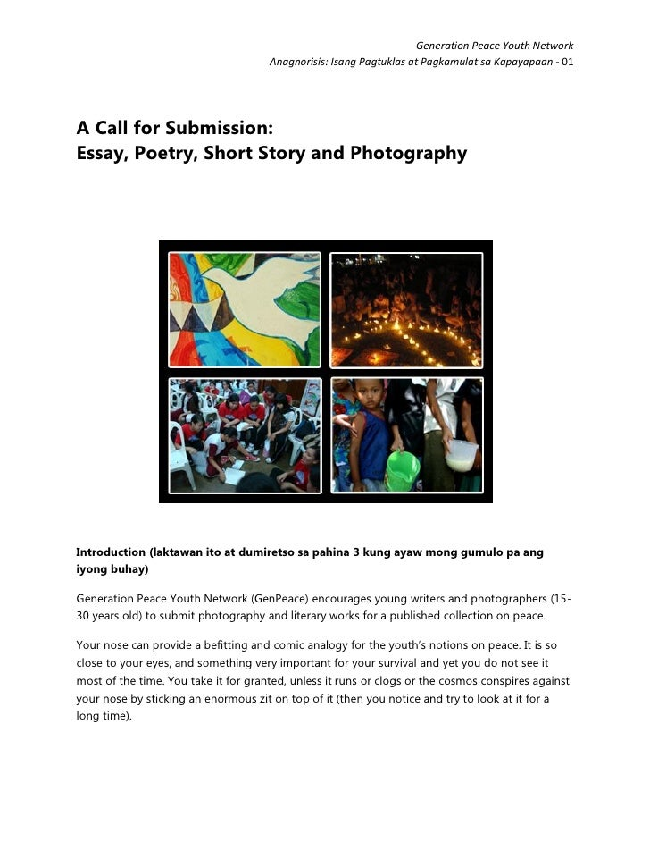 """Call for Submission (not strictly a contest): """"Anagnorisis"""" A Collection of Poetry, Photography, Short Stories and Essays on Peace"""