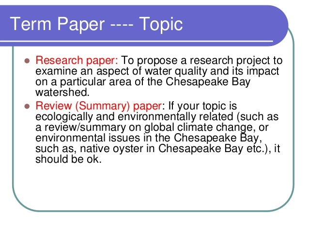 term paper on enviroment