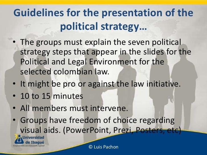 Guidelinesforthepresentation of thepoliticalstrategy…<br />Thegroupsmustexplainthesevenpoliticalstrategystepsthatappear in...