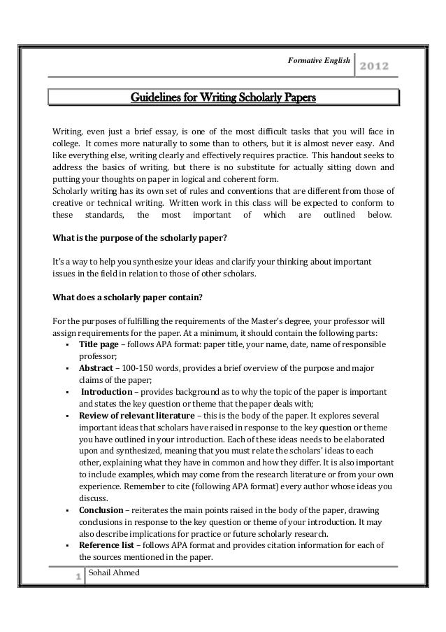guidelines for writing scholarly paper by sohail ahmed