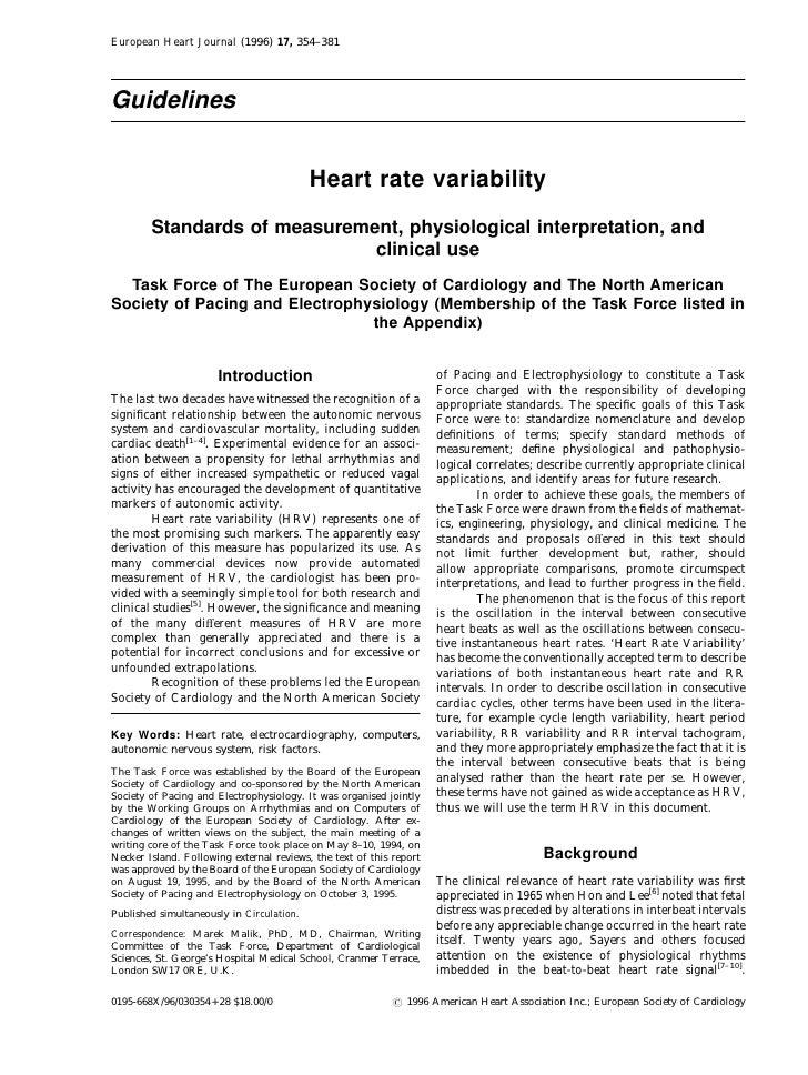 European Heart Journal (1996) 17, 354–381     Guidelines                                              Heart rate variabili...