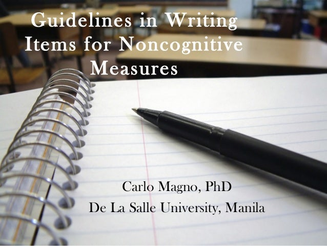 Guidelines in writing items for noncognitive measures
