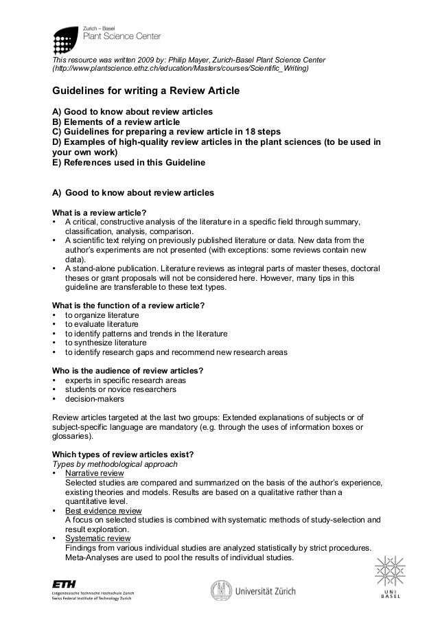 Guidelines review article for Science article summary template