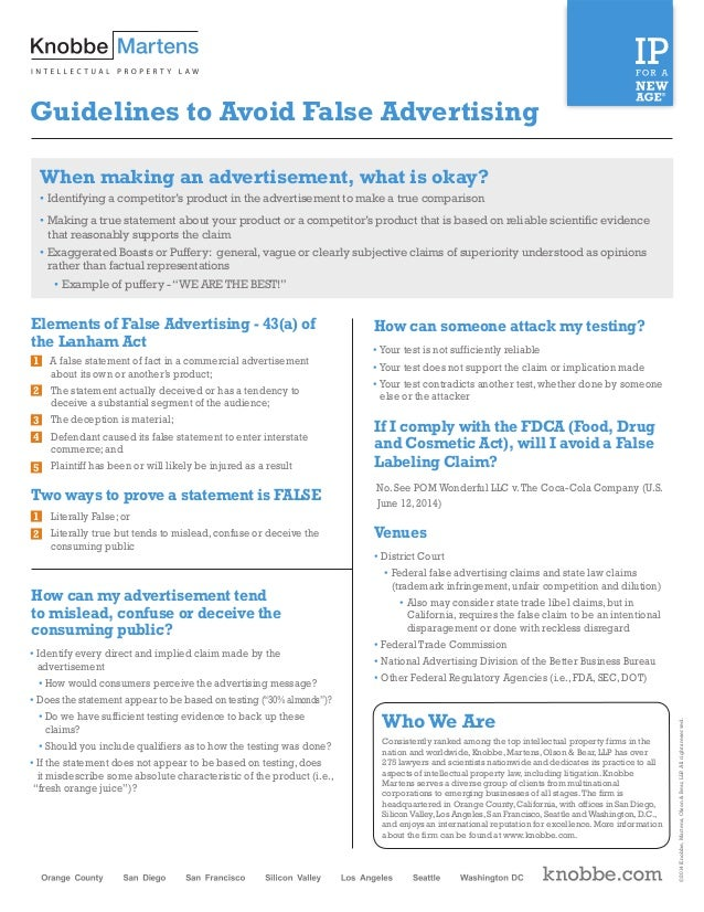 identifying the deceptive advertising A lot of people watch ads and get convinced enough to buy the products, but not  everyone can spot misleading advertisements.
