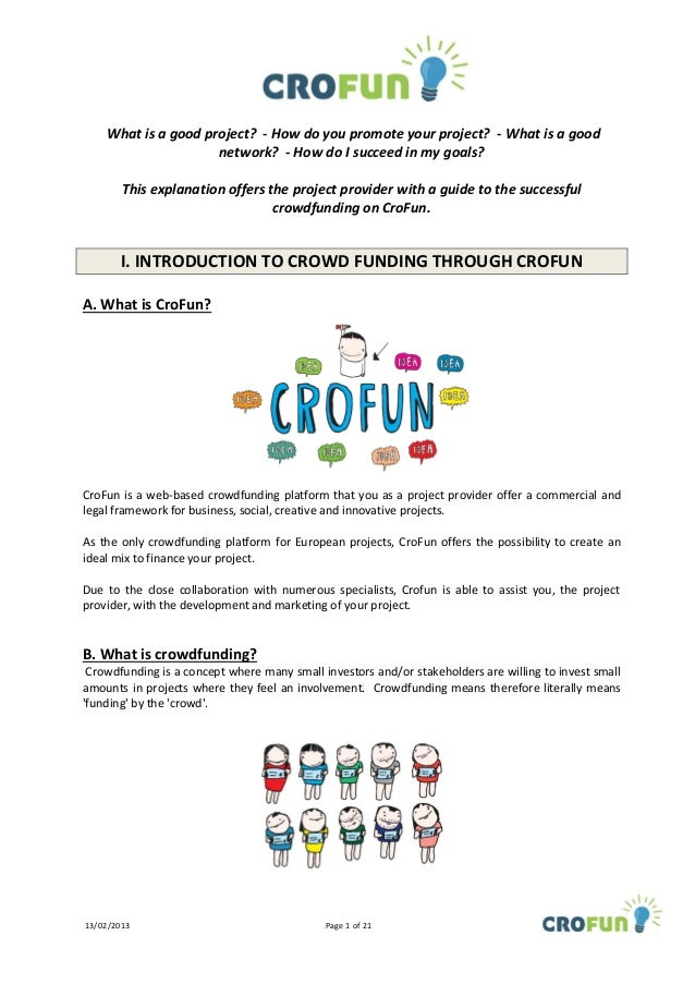 Guidelines to launch a project on CroFun